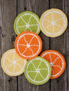Cute Citrus Slice Coaster's: free easy level crochet pattern ༺✿ƬⱤღ http://www.pinterest.com/teretegui/✿༻