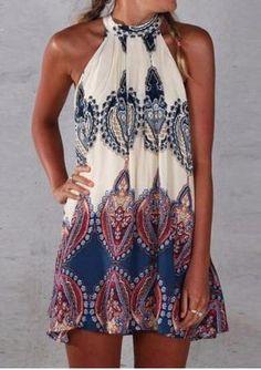 Sleeveless BOHO A-Line Summer Dress - Neckline : O-Neck - Pattern Type : Print…
