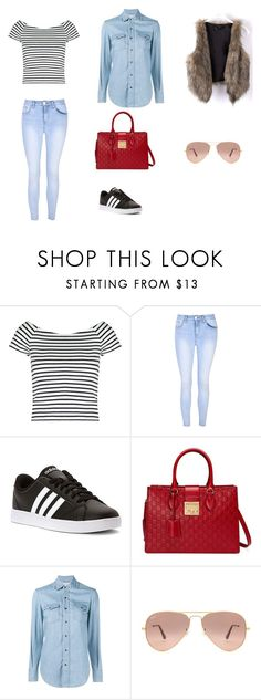 """trip 1: day 8"" by maria-l-v on Polyvore featuring moda, Lipsy, Glamorous, adidas, Gucci, Yves Saint Laurent y Ray-Ban"