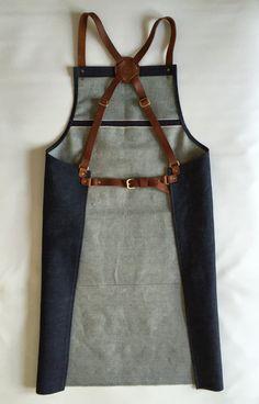 Selvedge denim and leather apron cross back by PAULA KIRKWOOD £110... take a…