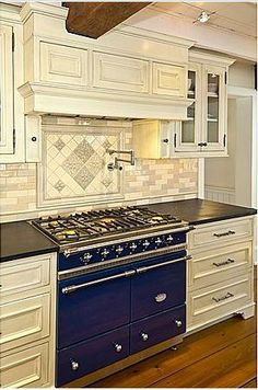Beautiful blue Lacanche range in the kitchen of an dairy barn converted to a home by John Hutchison of Chesapeake Architects Note: Idea's For New Kitchen Barn Kitchen, Kitchen Dining, Kitchen Backsplash, Kitchen Appliances, Barn Renovation, Cool Kitchens, Decoration, Kitchen Remodel, John Hutchison