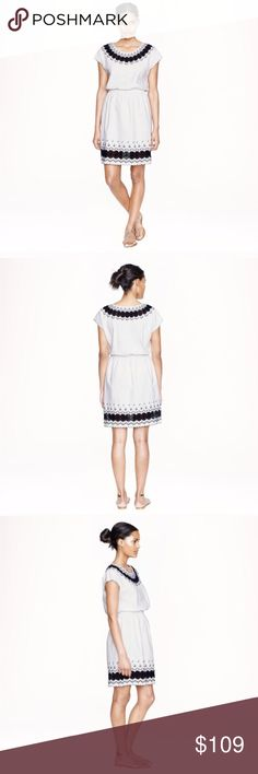 """J. Crew embroidered scalloped dress J. Crew ivory and navy blue linen and cotton dress.  Blouson style with elastic waist, lace at the shoulders and hem.  Length 37"""".                                                        🚫trades.                                                               ❤️First to """"Like"""" offer $69 and it's yours❤️ J. Crew Dresses"""