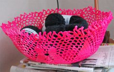 HOW TO make a Neon (or any color) Lace Bowl