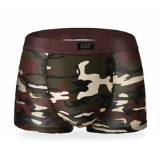 Men Underwear Camouflage Printed Boxer Male Panties Breathable Comfortable Letter Shorts (XS-XL)