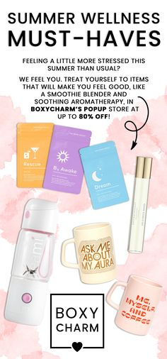 This summer we have your back when it comes to all your wellness needs! Here are just a few of the items you'll find in our BoxyPopUp launching soon. Our PopUp gives the opportunity for our active Charmers to shop the best in makeup, skincare & more at up to 80% off! Not a Charmer? Sign up today to enjoy these savings and more! *Early access for Luxe and Premium active and waitlist members will be on Monday 8/10 and all access for active members will be on Tuesday 8/11. Treat Yourself, Make It Yourself, Smoothie Blender, Make You Feel, How To Make, Popup, Aromatherapy, Feel Good, Opportunity