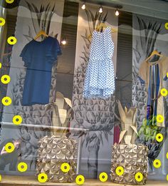 Pineapple window display. Print background at staples?