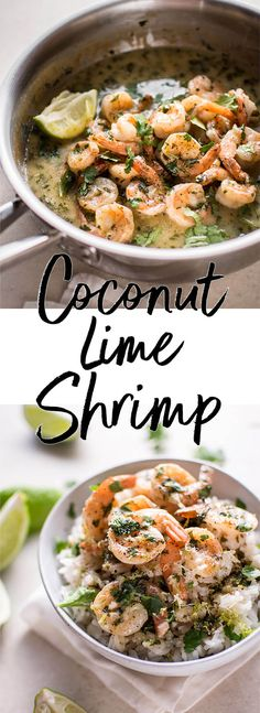 This coconut lime shrimp recipe is quick, easy, fresh, and goes perfectly with rice. A great weeknight meal option!