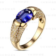 ● CaiMao - Tanzanite DIAMOND gold.                                                        14KT/585 Yellow #Gold 1.58 ct Natural IF Blue #Tanzanite AAA  0.45 ct Full Cut #Diamond Engagement Gemstone #Ring. ✔️ BUY: US $598.00 | Visit Store ☛ http://ali.pub/1o8fb ☚