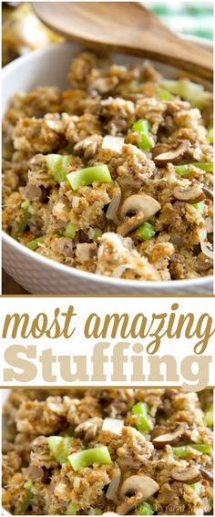 Low Carb Recipes To The Prism Weight Reduction Program This Pickford Stuffing Is The Most Amazing Stuffing Recipe You Will Ever Make It's So Good We Make It At Thanksgiving, Easter, And Year Round Super Easy. By means of Thetypicalmom Stuffing Recipes For Thanksgiving, Thanksgiving Side Dishes, Holiday Recipes, Easy Stuffing Recipe, Thanksgiving Treats, Slow Cooker Sausage Stuffing Recipe, Dinner Recipes, Typical Thanksgiving Dinner, Stuffing Mix Recipes