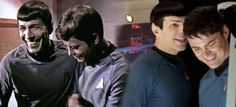 I love these photos - thanks to whoever found them and paired them up: TOS Spock and TOS Leonard McCoy (Leonard Nimoy and DeForest Kelley) & nuSpock with nuMcCoy (Zachary Quinto and Karl Urban).