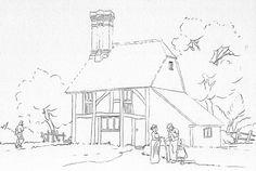 Watercolour-Pencil-Cottage-Outline-Drawing.jpg 800×538 pixels
