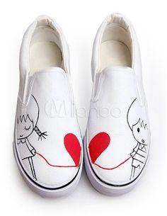 Zapatos de lona blanca con amantes pintados a mano de estilo dulce - Milanoo.com