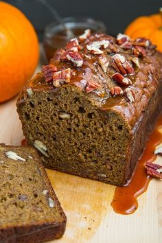 Greek Yogurt Pumpkin Banana Bread with Vanilla Bourbon Caramel Sauce and Pecans