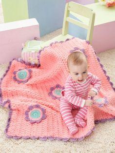 Flowers Blanket designed by  Lorna Miser - free crochet Patterns @ Yarnspirations