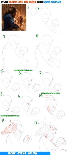 How to Draw Belle and Beast from Beauty and the Beast with Emma Watson 2017 Easy Step by Step Drawing Tutorial