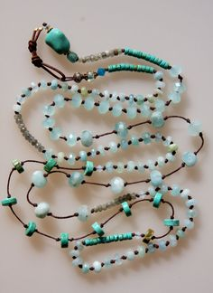 Azure jewels of the sea and sky Beaded and hand knotted by AILA1, $145.00