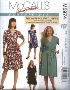 McCall's Sewing Pattern 5974 M5974 Womens Plus Size 18W-24W Classic Fit Knit Mock Front Wrap Dress   McCall's+Sewing+Pattern+5974+M5974+Womens+Plus+Size+18W-24W+Classic+Fit+Knit+Mock+Front+Wrap+Dress