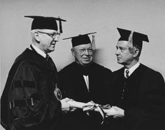 Millard E. Gladfelter, William R. Spofford and Abraham L. Freedman at the 1966 Temple University mid-year commencement