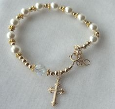 Rosary Pearl Bracelet, Gold Pearl Rosary Bracelet, Gold Cross Bracelet, First Communion Gold Bracelet, Baptism Rosary Pearl Bracelet Chaplet