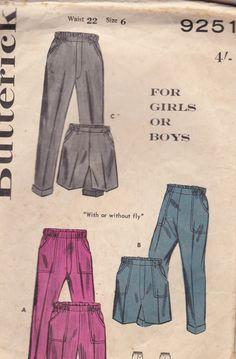 1960's Sewing Pattern  Butterick No 9251 Boys & by jennylouvintage