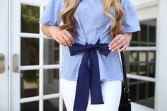 Feminine top with stripes and bow -- Simple summer outfit idea -- Nautical outfit inspiration -- Halogen poplin top from Nordstrom with stripes and bows