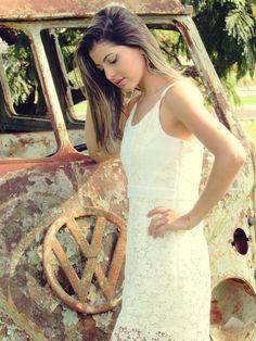 Tallita Martins - Vestido de renda guipir