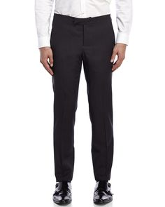 Armani Collezioni Grey Flat Front Back Buckle Wool Pants