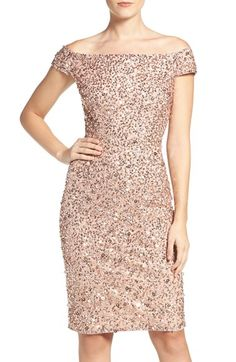 Free shipping and returns on Adrianna Papell Off the Shoulder Sequin Sheath Dress (Regular & Petite) at Nordstrom.com. Darkly twinkling sequins scatter over an airy, shoulder-spanning cocktail dress that hits the sweet spot between classic and modern.