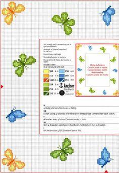 Green yellow and blue butterflies cross stitch patterns - free cross stitch patterns crochet knitting amigurumi Tiny Cross Stitch, Butterfly Cross Stitch, Cross Stitch Borders, Cross Stitch Animals, Cross Stitch Designs, Cross Stitching, Cross Stitch Embroidery, Cross Stitch Patterns, Loom Patterns