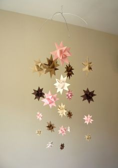 Baby Crib Mobile Hanging Origami Stars -'Pegasus' Pinks and Browns Hanging Origami, Origami Mobile, Origami Paper, Baby Crib Mobile, Baby Cribs, Baby Mobiles, Christmas Card Crafts, Christmas Decorations, I Believe In Pink