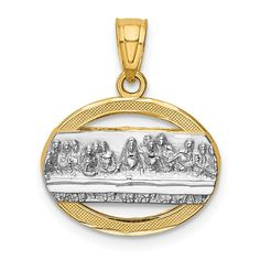 ApplesofGold.com - 14K Gold Two-Tone The Last Supper Communion Pendant Jewelry $149.00 Fine Jewelry, Women Jewelry, Unique Jewelry, Gifts For Women, Gifts For Her, Christian Jewelry, Gold Price, Selling Jewelry, Gold Material