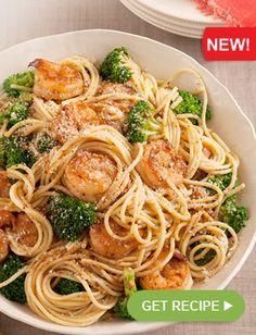 GET RECIPE » NEW Spaghetti with Garlic-Shrimp & Broccoli | Healthy Living recipe