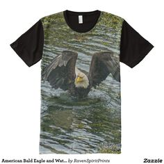 American Bald Eagle and Water Wildlife Art All-Over Print T-shirt