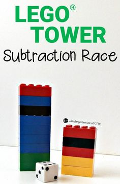 Subtraction Lego Game - The Kindergarten ConnectionThis game is best played with a partner, although you could play it with a small group of students too, as the object of the game is to see who can lose all of their bricks first! Subtraction Kindergarten, Lego Math, Kindergarten Math Games, Subtraction Activities, Lego Games, Fun Math Games, Math Activities, Learning Games, Dice Games
