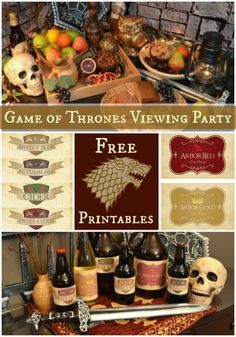 How to Throw a Game of Thrones Viewing Party [Printables] - Abendessen Game Of Thrones Food, Game Of Thrones Theme, Game Of Thrones Trivia, Game Of Thrones Birthday, Game Of Thrones Premiere, Got Party, Party Party, Medieval Party, Food Labels