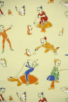 little elves vintage wallpaper for children Retro Illustrations, Retro Wallpaper, Elves, Retro Vintage, Etsy Seller, Snoopy, Children, Creative, Fictional Characters