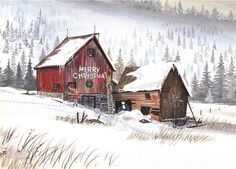 Merry Christmas Winter Barn Holiday Cards