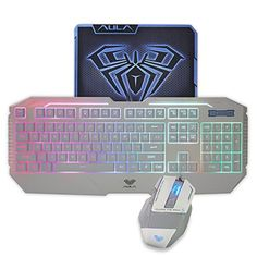 8726612d30e AULA Rainbow LED Backlit Gaming Keyboard & Mouse Combo with Pro-Gaming  Mousepad Included (White Color)