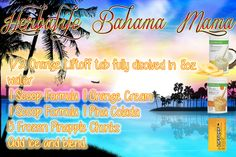 Herbalife Bahama Mama made with Pina Colada and Orange Cream Formula 1 Mix and 1/2 Orange Liftoff Tablet. This delicious and tropical shake with have you feeling like you're on a beach somewhere. Add vanilla PDM (protein drink mix) if desired! Herbalife Shake Recipes, Herbalife Nutrition, Herbalife Meals, Herbal Life Shakes, Herbalife Distributor, Independent Distributor, Nutrition Club, Nutrition Drinks, Health And Wellness
