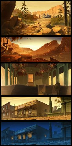 The top two are really great! Environment Concept, Environment Design, Art Environnemental, Forest Illustration, Fantasy Places, Animation Background, Matte Painting, Le Far West, Visual Development