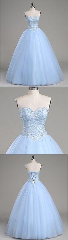 Sweet 16 Dresses | Beaded ice blue tulle prom dress for teens #prom #dress #promdress #promdresses
