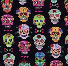 Sugar Skulls with Hearts & Roses Fabric Sample
