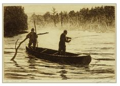 River Guide, canoe etching by Brett J Smith www.brettsmith.com Fishing Trips, Fly Fishing, Country Cabin Decor, Art Ideas, Decor Ideas, Gifts For Hunters, Fish Patterns, Sports Art, Etchings