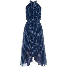 Saloni Iris polka-dot flocked georgette dress ($189) ❤ liked on Polyvore featuring dresses, navy, polka dot halter dress, navy halter dress, navy blue polka dot dress, navy blue halter dress and navy blue dress