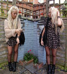 Vintage Diy Dress, Vintage Platform Boots, Handmade Leather Tassle Bag, Topshop Brown Oversized Knit Sweater