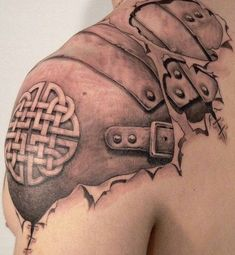 SKIN RIPPED AWAY TO REVEAL ARMOR UNDERNEATH — OPTICAL ILLUSION TATTOO