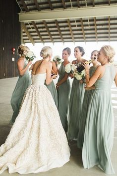 Mint Sage Green Chiffon Long Bridesmaid Dresses Gone are the times when bridesmaids shrink from their dresses. Now, with this type of wide selection of dress styles available, choosing bridesmaid dresses wi Tan Wedding, Sage Green Wedding, Wedding Bride, Dress Wedding, Spring Wedding, Wedding Ceremony, Sage Bridesmaid Dresses, Blue Bridesmaids, Bridesmaid Pictures