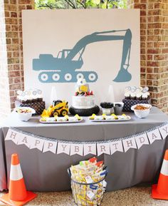 construction birthday party ideas; construction party ideas, excavator party