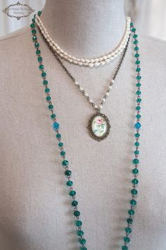 Shabby Chic Necklace, Romantic Necklace , Vintage Style Necklace, Rose Necklace , Charm Necklace, Layered Necklace Simple but so cute and romantic . Looks amazing layered with your other pieces , as you can see at the photos , but its so beautiful as by itself. Features vintage