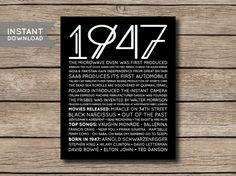 1947  Printable 70th Birthday Facts & Trivia by shopmarigoldlane